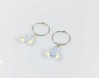 Opalite Drop Hoop Earring/ Small Gemstone Hoop Earring/ Silver Hoop Earrings/ Gold Hoop Earrings