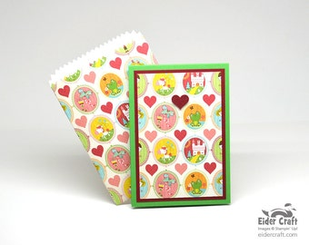 Fairy Tale POCKET CARD, matching envelope, colorful, any occasion, versatile, handmade, handcut & scored, red glitter star, giftcard, treats