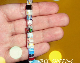 lampwork bracelet, cube lampwork beads bracelet