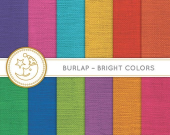 Bright Burlap Digital Paper: BRIGHT COLORFUL BURLAP paper pack. Printable pattern paper. Instant download paper.