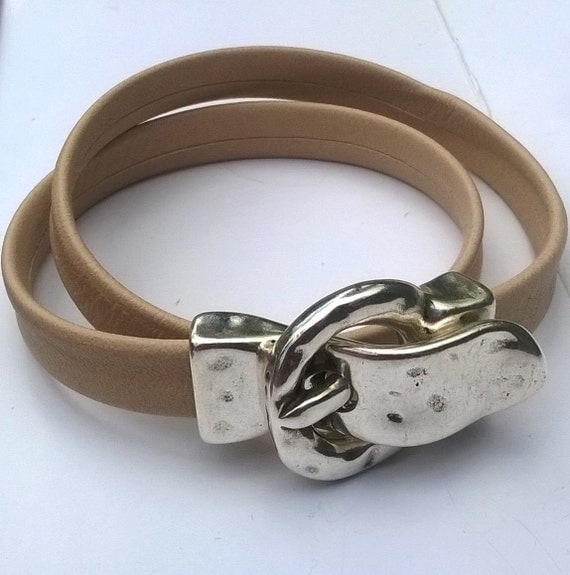 Faux Leather and antique silver magnetic buckle bracelet