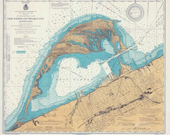 1920 Nautical Map of Erie Harbor and Presque Isle Lake Erie PA