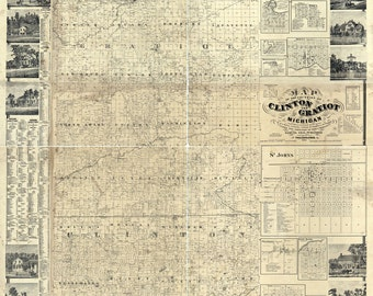 1864 Map of Clinton and Gratiot County Michigan