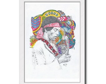 Jimi Hendrix - Print Poster Psychedelic Art Drawing Illustration Instant Download