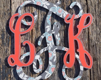Painted Monogram Letters - Three lettered Hand painted Wooden Monogram