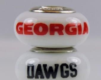 Georgia Bulldogs Glass Bead Fits European Style Bracelets