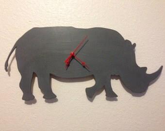 Southern White Rhino Clock