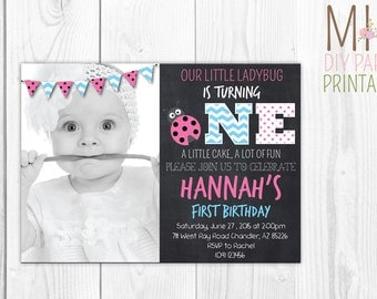 Pink Ladybug First Birthday Photo Invitation,Ladybug Birthday,Lady Bug Invitation,Ladybug Digital Invitation,Ladybug Invitation,bug invite