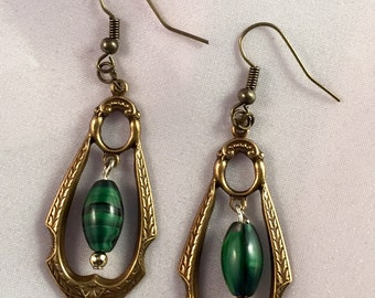 Steampunk Victorian, Vintage look, Malachite Earrings in a Bronze Stamped Laurel Frame