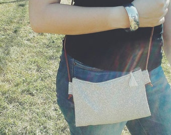 Shimmery cream cross body purse