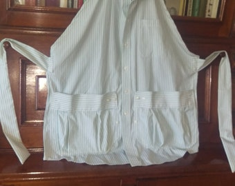 Adult sized apron upcycled mens shirt Mother's Day Gift