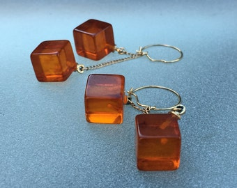 Amber Bakelite cube dangling earrings.  Light and crisp