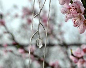 Silver twig necklace Silver branch necklace Spring jewelry Spring flowers Twig jewelry Silver tree pendant Crystal necklace Forest jewelry