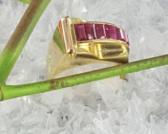 Ring calibrated Ruby vintage yellow gold 18K Tank