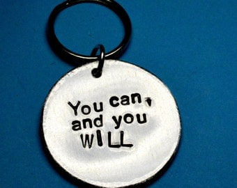 Quote keychain, Christmas gift, You can, Inspirational quote, Motivational quote, keyring, Gift ideas, Words of Wisdom, UK, Sayings keychain