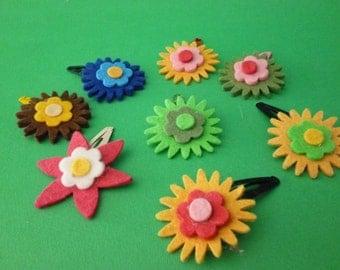 felt flower hair clips with various colors