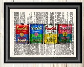Campbell Soup, Kitchen Decor, Kitchen Wall Art, Retro Vintage Print, Dictionary Print, Kitchen Art, Wall Art Print, Book Print, Home Art,083