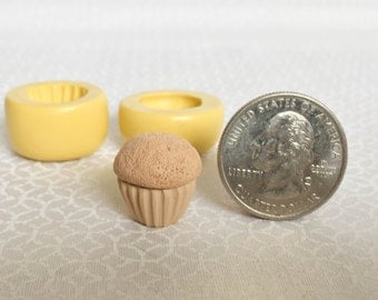 """Two pieces Cupcake Molds Set 0.6"""" (15mm) - Flexible Silicone Molds - Push Molds - Polymer Clay Molds - Resin Molds - Fondant Molds"""