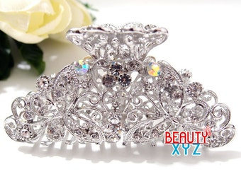 silver Crystal high quality Metal Butterfly/flowers Hair Claw Clip Pin