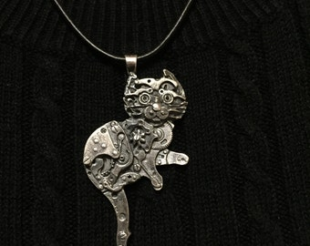 Silver Watch Parts Kitty Pendant