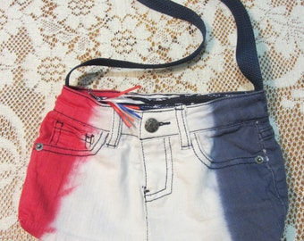 Patriotic Denim Purse, Upcycled Jeans Bag, Zippered and Fully Lined