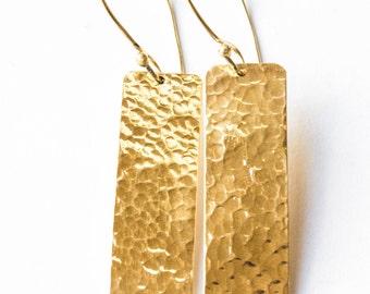 Hammered brass earrings, Brass earrings, Geometric Earrings, Handmade Everyday Jewelry,Textured brass, Minimalist, Long Dangle Earrings