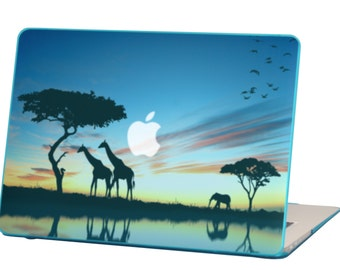 Macbook Air 13 inches Rubberized Hard Case for model A1369 & A1466, Safari Design with Blue Bottom Case, Come with Keyboard Cover