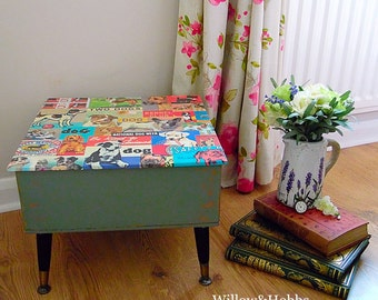 Vintage upcycled sewing box, painted furniture,  decoupaged, distressed and waxed