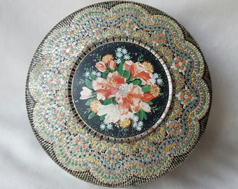 Vintage Round Floral Tin made in Holland