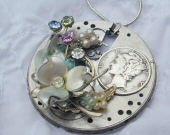 Upcycled OOAK Steampunk watchworks rhinestone dime necklace pendant