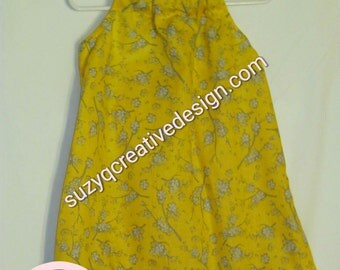 Yellow and Grey Floral Halter Dress 3T