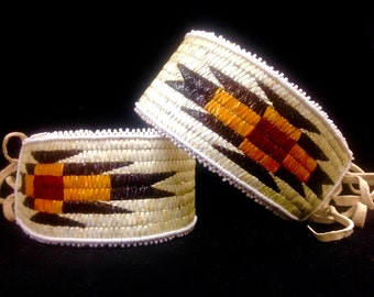 Shoshone porcupine quill work arm bands