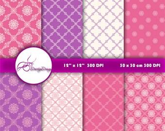 Pink purple damask digital paper Wedding, pink damask digital backgrounds patterns clipart, instant download 330