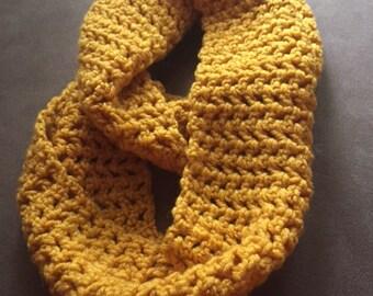 Yellow Crochet Infinity Scarf