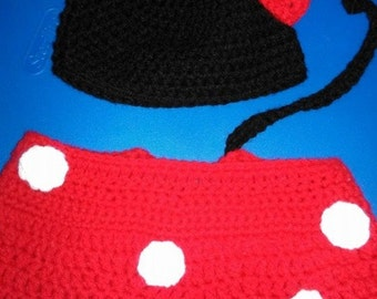 Minnie Mouse Hat and Diaper Cover