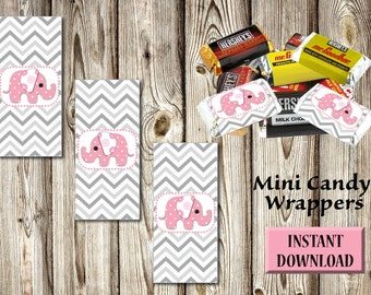 Baby Shower, Birthday, Mini Candy Wrappers, Chocolate, Instant Download, DIY, Party Favors, Buffet, Pink Elephant, Gray Chevron PDF and JPG