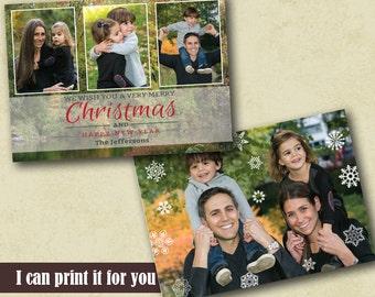 Photo Christmas Card Template, Greetings Photo card, Photo Holiday Card, Printable Christmas Card, Custom Christmas card, Holiday Photo Card