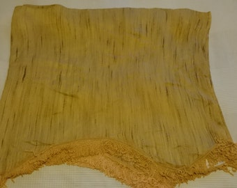 Yellow Fringe 70s Curtain Pink Silvery backside
