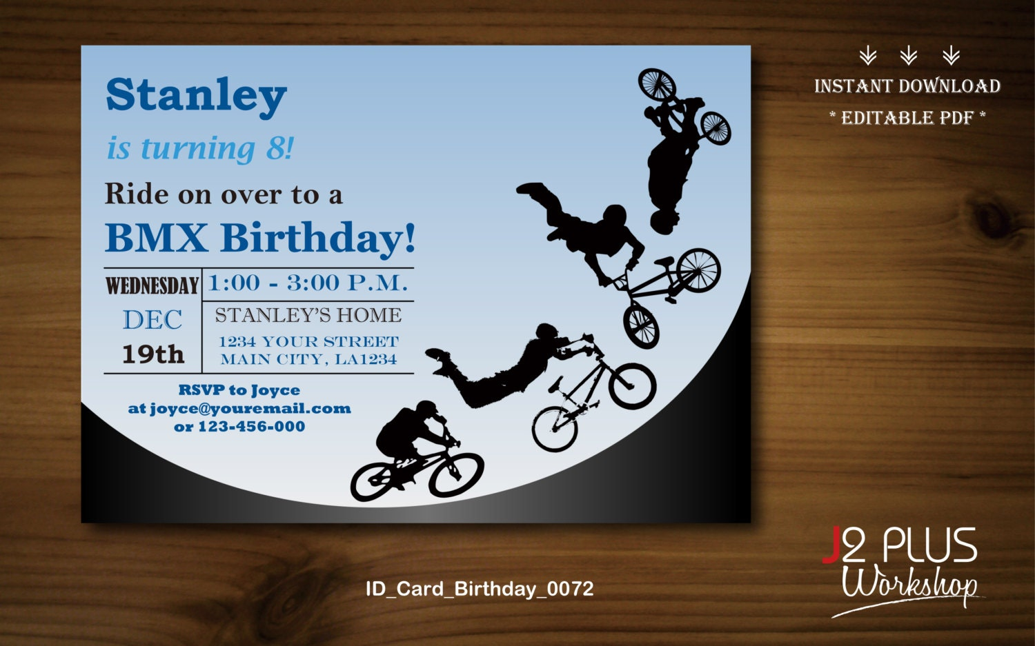instant download birthday invitation bmx bicycle birthday
