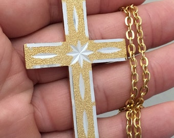 Vintage cross, large 2 1/2 inch long diamond cut gold tone cross with a 24 inch long gold overlay link chain