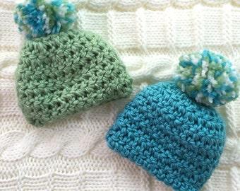Blue or Green Crochet Newborn Beanie 0-3 months 3-6 months 6-12 months
