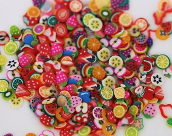 fimo slices, 1000pcs,, mix fruit fimo slices,  nail art
