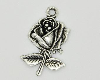 Silver Rose Flower Charm Necklace,Silver Rose Pendant,Rose Charm Pendant