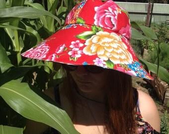 Bohemian reversible broad brimmed sun hat