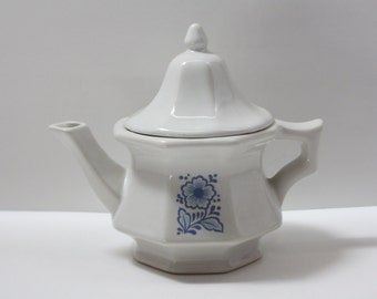 Vintage Ceramic Avon Blue and White Flower Teapot, Kitchen Decor, Small Teapot, 1970s