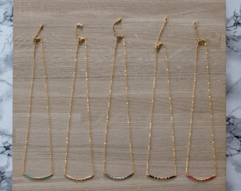 Necklaces plated gold & seed beads