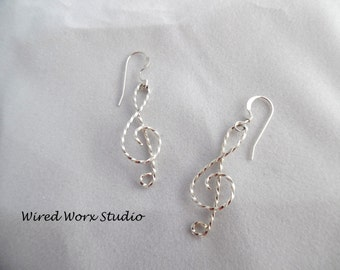 Treble Clef Earrings Twisted Wire Sterling Silver Musical Earrings
