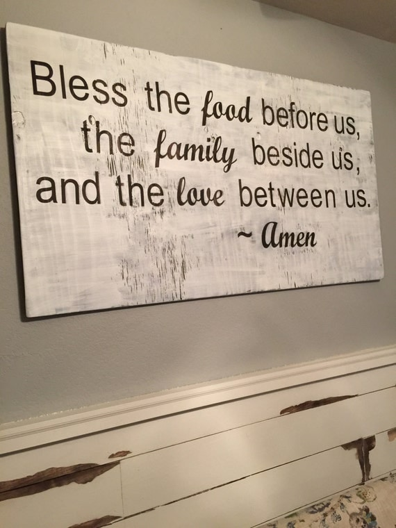 Bless this food, family, love Sign