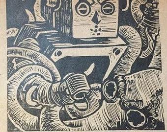 robot fighting squid linoleum block print. limited to 50 signed copies. 7X8""