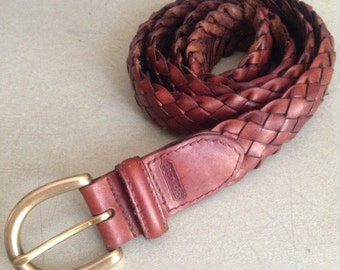 "34"" vintage Coach brown leather braided belt"